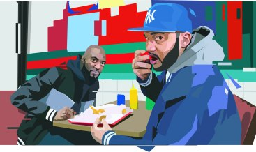 """""""It's an homage to these two people, Desus and Mero, that I follow on Twitter. They started out on Complex, these two broke dudes from the hood talking shit about everything and made it funny. Which is usually what broke people do. You clown on everything. Their podcast is what I usually listen to when I paint, 'cause you gotta have some humor. It can't just be serious 24/7. On the podcast, one will be the family guy and the other's the bachelor, like, single life's the shit. But then sometimes they switch, he's like damn I want a wife and kid. It's also interesting because you rarely see latinos and blacks together. So. It's a duality of different perspectives."""""""